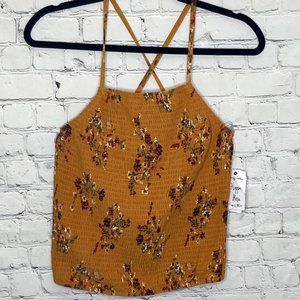 Hippie Rose floral smocked  criss cross tank top